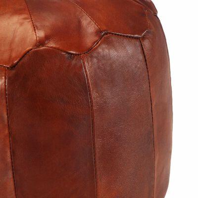 vidaXL Пуф, жълтокафяв, 40x35 см, естествена козя кожа