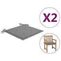 vidaXL Възглавници за градински столове, 2 бр, сиви, 50x50x4 см