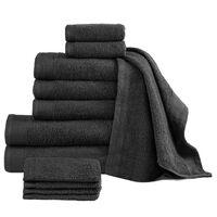 vidaXL Комплект от 12 хавлиени кърпи, памук, 450 г/м2, черен