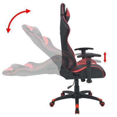 vidaXL Офис стол, накланящ се, изкуствена кожа, червен