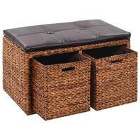 vidaXL Пейка с 2 кошници, морска трева, 71x40x42 см, кафява