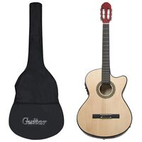 vidaXL Комплект уестърн китара с еквалайзер и 6 струни, 12 части