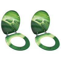 vidaXL WC тоалетни седалки с капак 2 бр МДФ дизайн зелени водни капки