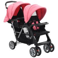 vidaXL Комбинирана количка тандем, розово и черно, стомана
