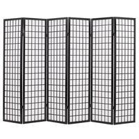 vidaXL Параван за стая, 6 панела, японски стил, 240х170 cм, черен