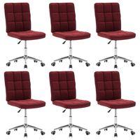 vidaXL Трапезни столове, 6 бр, виненочервени, текстил