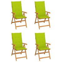 vidaXL Градински столове 4 бр светлозелени възглавници тик масив