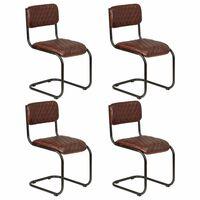 vidaXL Трапезни столове, 4 бр, кафяви, естествена кожа