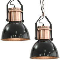 vidaXL Таванни лампи, 2 бр, черни, кръгли, E27