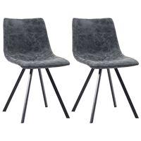 vidaXL Трапезни столове, 2 бр, черни, изкуствена кожа