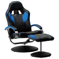 vidaXL Реклайнер рейсинг стол с табуретка, син, изкуствена кожа