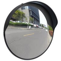 vidaXL Изпъкнало пътно огледало, PC пластмаса, черно, 30 см, улично
