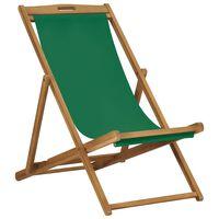 vidaXL Сгъваем плажен стол, тиково дърво масив, зелен
