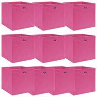 vidaXL Кутии за съхранение, 10 бр, розови, 32x32x32 см, текстил