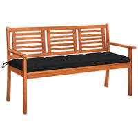vidaXL 3-местна градинска пейка с възглавница, 150 cм, евкалипт масив