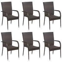 vidaXL Стифиращи външни столове, 6 бр, полиратан, кафяви