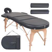 vidaXL Сгъваема масажна маса, 4 см пълнеж, 2 овални болстера, черна