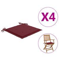 vidaXL Възглавници за градински столове 4 бр виненочервени 40x40x4 см