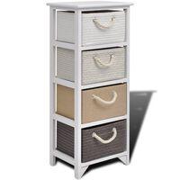 vidaXL Шкаф за съхранение с 4 чекмеджета, дърво