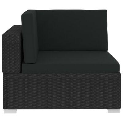 vidaXL Градински комплект с възглавници, 4 части, полиратан, черен