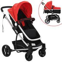 vidaXL Детска/бебешка количка 2-в-1, алуминий, червено и черно