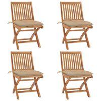 vidaXL Сгъваеми градински столове с възглавници, 4 бр, тик масив