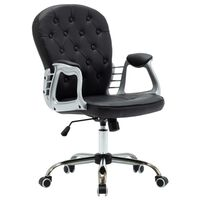 vidaXL Въртящ офис стол, черен, изкуствена кожа