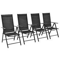 vidaXL Сгъваеми градински столове, 4 бр, алуминий и Textilene, черни