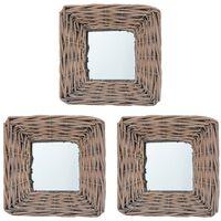 vidaXL Огледала, 3 бр, 15x15 см, ракита