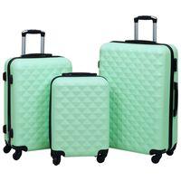 vidaXL Комплект твърди куфари с колелца, 3 бр, мента, ABS
