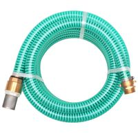 vidaXL Смукателен маркуч с месингови съединители, 4 м, 25 мм, зелен