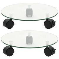 vidaXL Цветарници на колелца, 2 бр, закалено стъкло, 28 см, кръгли