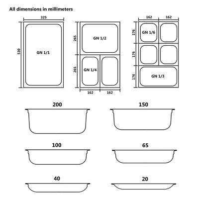 vidaXL Гастронорм контейнери 12 бр GN 1/4 20 мм неръждаема стомана