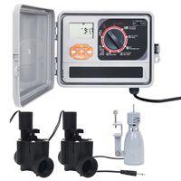 vidaXL Програматор за поливане със сензор за дъжд и соленоиден клапан