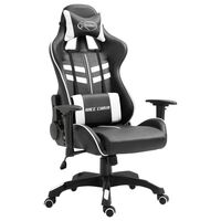 vidaXL Геймърски стол, бяло, изкуствена кожа