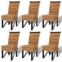 vidaXL Трапезни столове, 6 бр, абака и мангово дърво масив