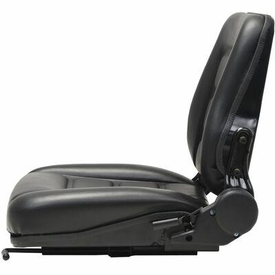vidaXL Седалка за мотокар и трактор с регулируема облегалка, черна