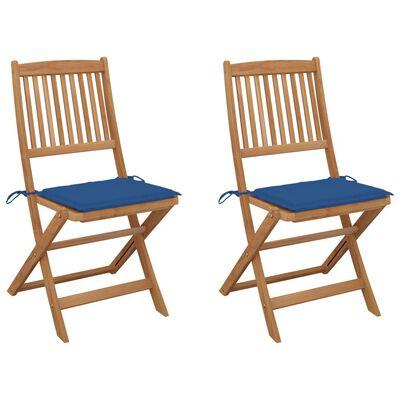 vidaXL Сгъваеми градински столове, 2 бр, с възглавници, акация масив