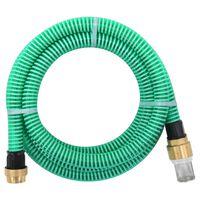 vidaXL Смукателен маркуч с месингови съединители, 10 м, 25 мм, зелен