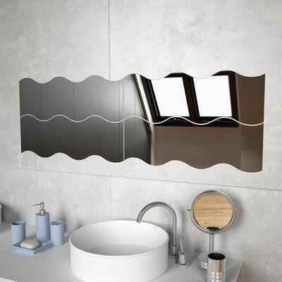 vidaXL Стенни огледала, 4 бр, 60x18,5 см, вълнообразни