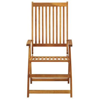 vidaXL Сгъваеми градински столове с възглавници, 3 бр, акация масив