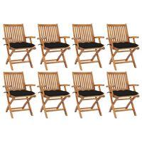 vidaXL Сгъваеми градински столове с възглавници 8 бр тик масив