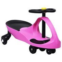 vidaXL Въртяща се кола с клаксон тип играчка за яздене, розова
