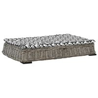 vidaXL Легло за кучета с възглавница сиво 95x65x15 см върба плоско