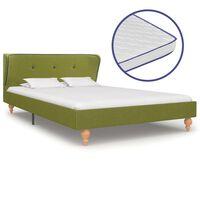 vidaXL Легло с матрак от мемори пяна, зелено, плат, 120x200 см
