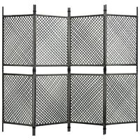 vidaXL Параван за стая, 4 панела, полиратан, антрацит, 240x200 см