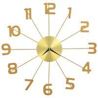 vidaXL Стенен часовник, метал, 50 см, златист