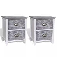 vidaXL Нощно шкафче с 2 чекмеджета, 2 бр, сиво и бяло