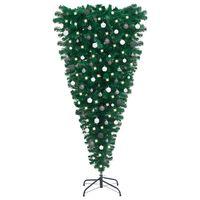 vidaXL Обърната изкуствена коледна елха с LED и комплект топки 180 см