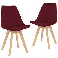 vidaXL Трапезни столове, 2 бр, виненочервени, текстил